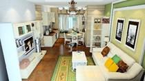 Cách thiết kế nội thất phòng khách liền bếp