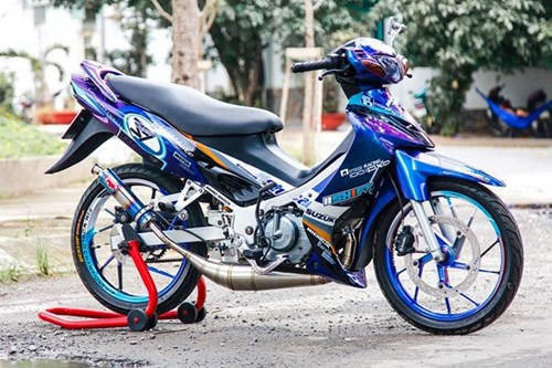 Xe 2 thi Suzuki Satria mau doc cua biker Lam Dong hinh anh 5