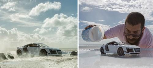 Audi đặt làm quảng cáo xe sang giá 160.000 đô, anh chàng này chỉ dùng 40 đô, thêm tài Photoshop mà làm sản phẩm đẹp không tin được - Ảnh 9.