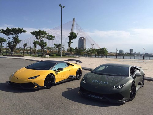 Cặp đôi Lamborghini Huracan độ khủng, biển VIP, đọ dáng cùng nhau tại Đà Nẵng - Ảnh 1.