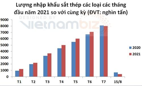 Đến giữa tháng 8, Việt Nam nhập siêu sắt thép chỉ bằng 1/4 cùng kỳ - Ảnh 2.