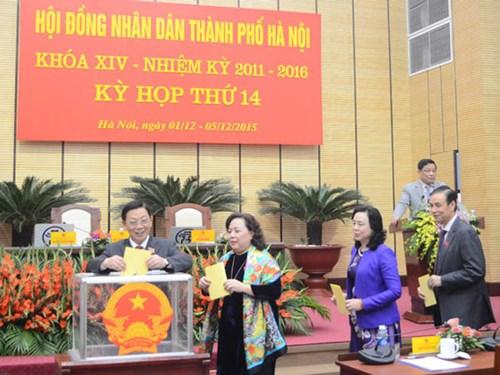 Các đại biểu bỏ phiếu bầu chức danh Chủ tịch UBND TP Hà Nội Ảnh: ANTĐ