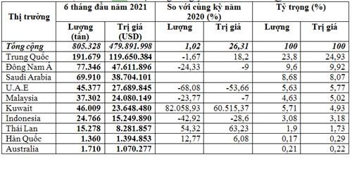 Thị trường chủ yếu cung khí gas cho Việt Nam 6 tháng đầu năm 2021