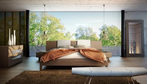 Với người Nhật, giường ngủ luôn được coi là trung tâm của căn phòng. Trong phòng chỉ có 1 chiếc tủ nhỏ, bàn trà. (Ảnh Pinterest).