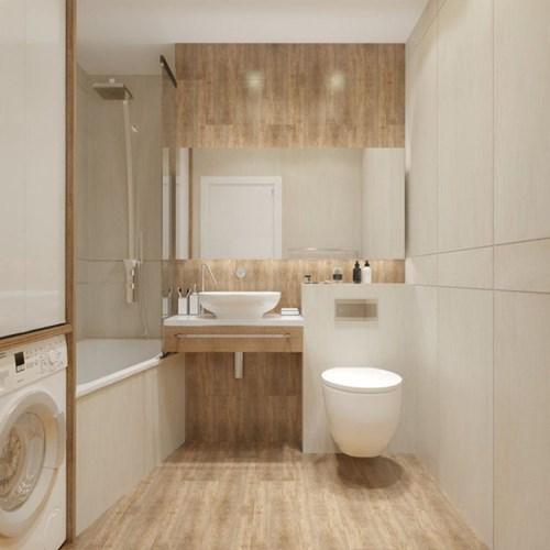Toàn bộ nội thất trong nhà vệ sinh cũng chỉ dùng hai màu đồng nhất với căn hộ đó là nâu và trắng.