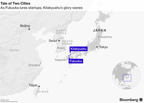 Vị trí hai thành phố Kitakyushu và Fukuoka trên bản đồ.