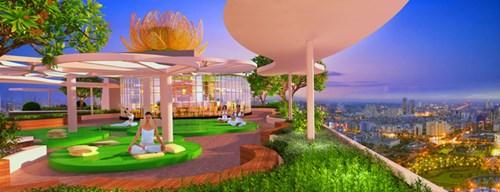 Vườn thiền Zen Lotus Garden ở tầng thượng.