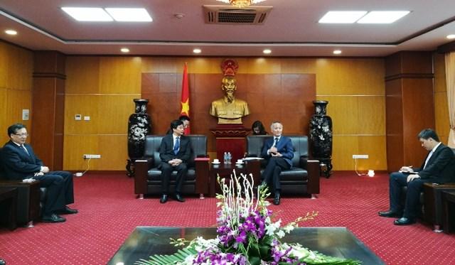 Thứ trưởng Trần Quốc Khánh tiếp đồng chí Kim Dục Huy, Phó Tỉnh trưởng tỉnh Cát Lâm