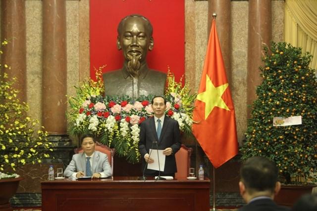 Chủ tịch nước Trần Đại Quang đánh giá cao sự nỗ lực của các tham tán thương mại