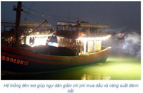 Hệ thống chiếu sáng tiết kiệm năng lượng dẫn dụ cá sử dụng đèn led