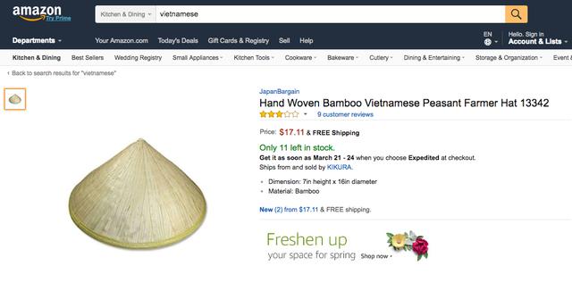 Nón lá Việt Nam giá 30 nghìn chỉ có các cụ các bà dùng, lên Amazon khách Tây lùng mua