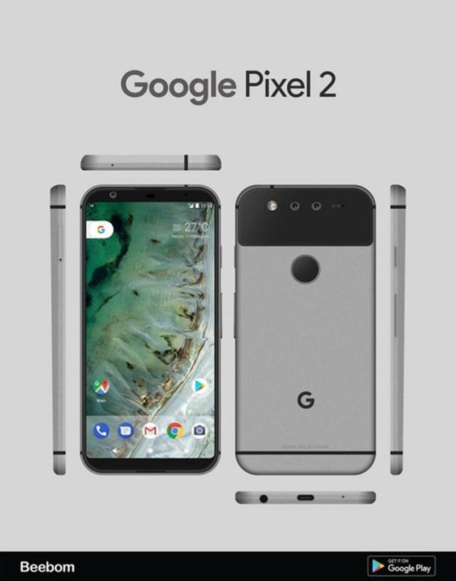 Rò rỉ ảnh Google Pixel 2: Camera kép ngang, viền màn hình siêu mỏng